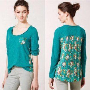 Paper Locket | Anthropologie green floral blouse